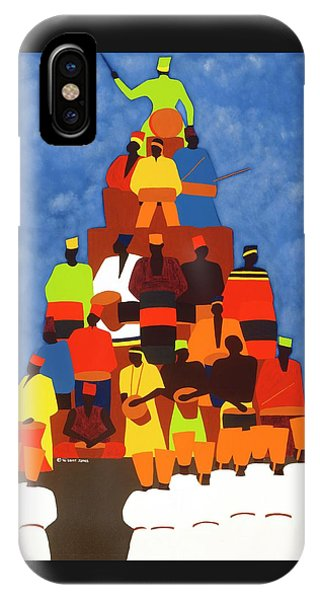 iPhone X Case - Pyramid Of African Drummers by Synthia SAINT JAMES