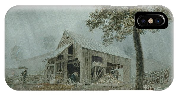 New England Barn iPhone Case - Rainstorm, Cider Mill At Redding, Connecticut by George Harvey