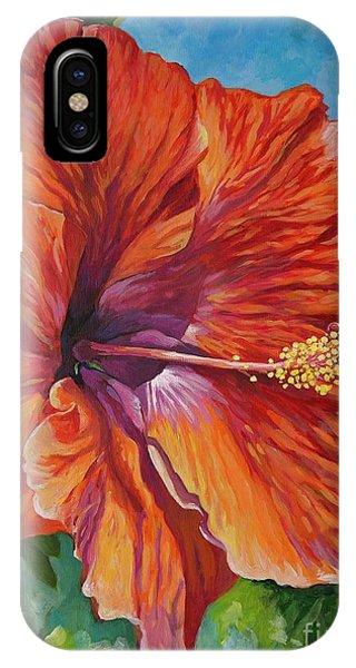 Hibiscus Flower iPhone Case - Red Hibiscus by John Clark
