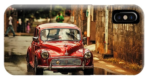 Red Retromobile. Morris Minor IPhone Case