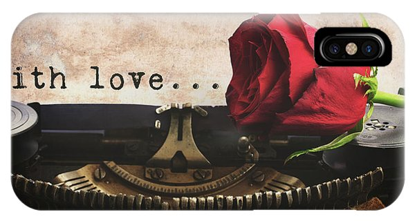 Red Rose On Typewriter IPhone Case