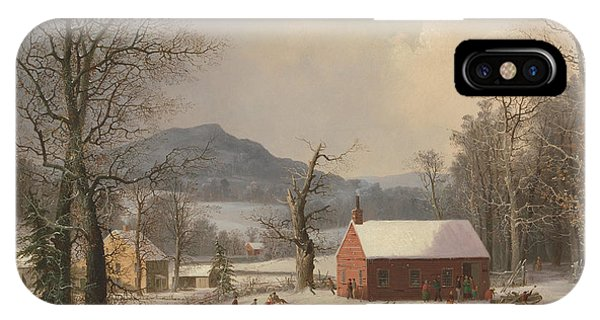 New England Barn iPhone Case - Red School House by George Henry Durrie