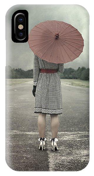 Umbrella iPhone Case - Red Umbrella by Joana Kruse