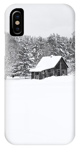New England Barn iPhone Case - Remote Cabin In Winter by Edward Fielding