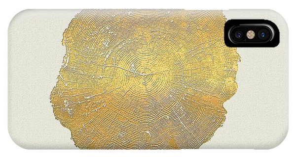 Pop Art iPhone Case - Rings Of A Tree Trunk Cross-section In Gold On Linen  by Serge Averbukh