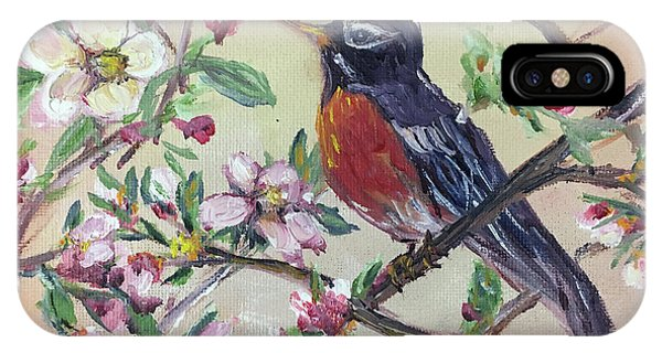 Robin In A Budding Cherry Tree IPhone Case