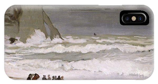 Normandy iPhone Case - Rough Sea At Etretat by Claude Monet