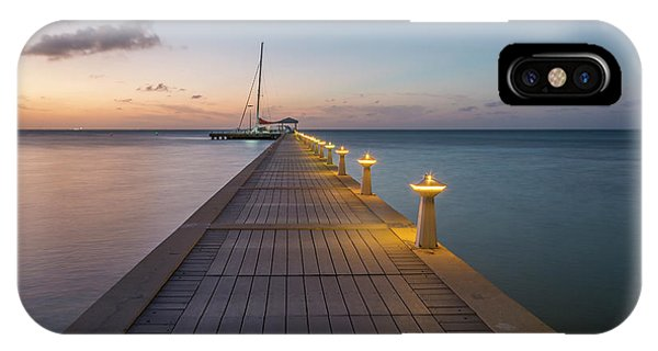 IPhone Case featuring the photograph Rum Point Pier At Sunset by Adam Romanowicz