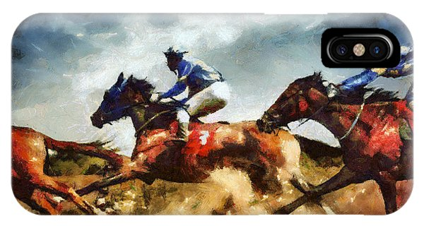 IPhone Case featuring the painting Running Horses Competition Jockeys In Horse Race by Dimitar Hristov