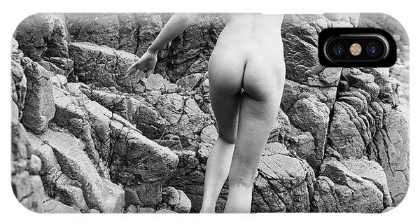 Running Nude Girl On Rocks IPhone Case