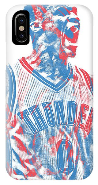 Tickets iPhone Case - Russell Westbrook Oklahoma City Thunder Pixel Art 31 by Joe Hamilton