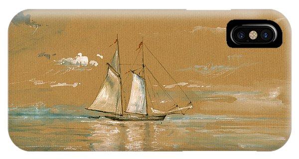 Nautical iPhone Case - Sail Ship Watercolor by Juan  Bosco