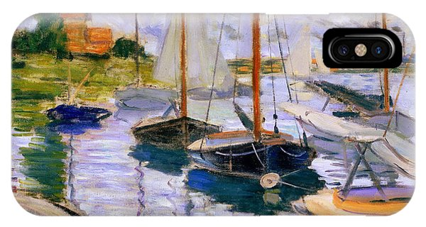 French Painter iPhone Case - Sailboats On The Seine  by Claude Monet
