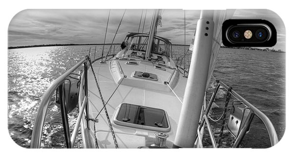 Sailing Yacht Fate Beneteau 49 Black And White IPhone Case