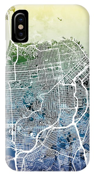 California iPhone Case - San Francisco City Street Map by Michael Tompsett