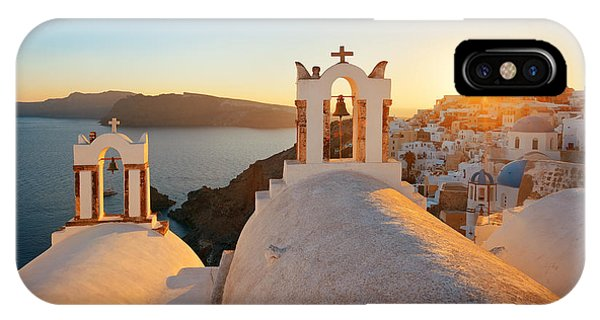 Santorini Skyline Sunset Bell Phone Case by Songquan Deng