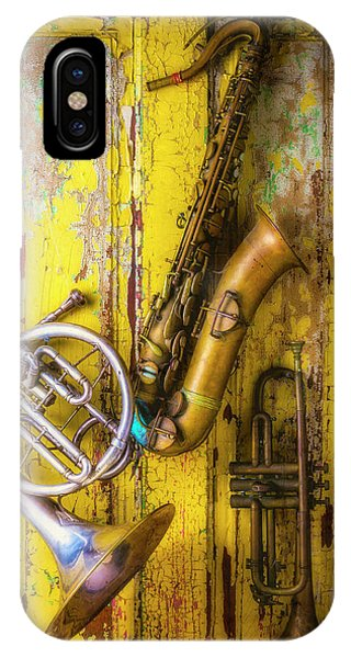 Yellow Trumpet iPhone Case - Sax French Horn And Trumpet by Garry Gay