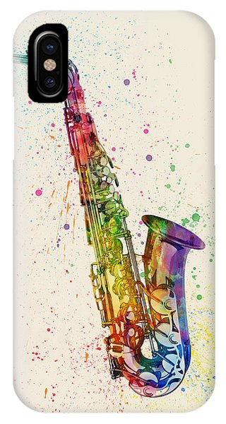 Saxophone iPhone Case - Saxophone Abstract Watercolor by Michael Tompsett