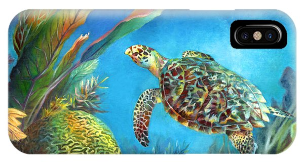Sea Escape Iv - Hawksbill Turtle Flying Free IPhone Case