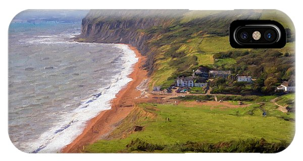 Dorset iPhone Case - Seatown Beach In Dorset Looking Towards Golden Cap From The South West Coastal Path Illustration by Michael Charles