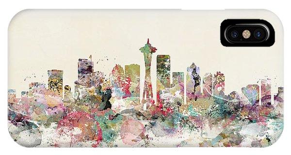 Seattle iPhone X Case - Seattle City Skyline by Bri Buckley