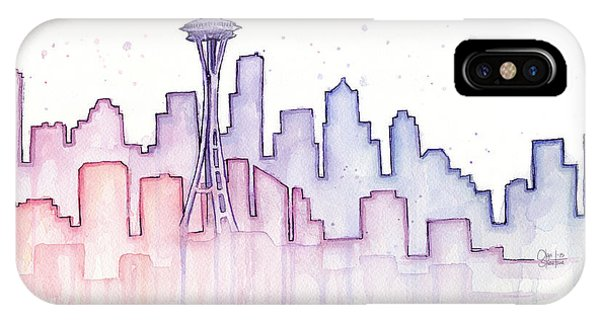 Silhouette iPhone Case - Seattle Skyline Watercolor by Olga Shvartsur