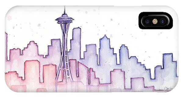 Market iPhone Case - Seattle Skyline Watercolor by Olga Shvartsur