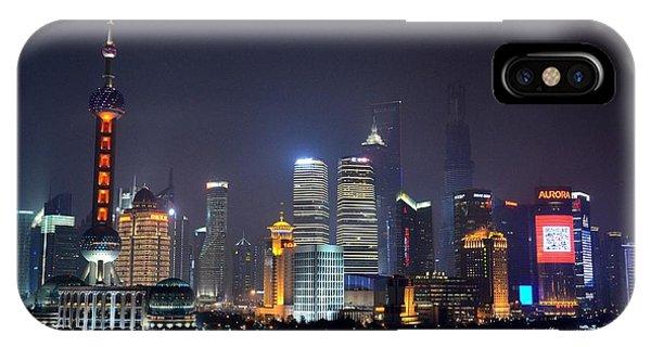 Shanghai China Skyline At Night From Bund IPhone Case