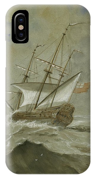 Nautical iPhone Case - Ship At The Storm by Juan Bosco