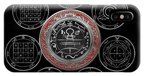 Supply iPhone Case - Silver Seal Of Solomon Over Seven Pentacles Of Saturn On Black Canvas  by Serge Averbukh