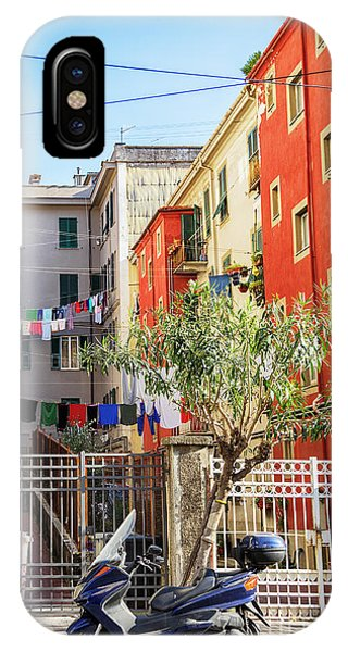 IPhone Case featuring the photograph small street in old town La Spezia, Italy by Ariadna De Raadt