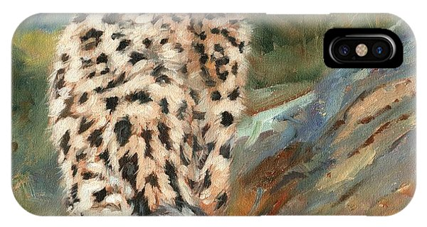 Snow Leopard iPhone Case - Snow Leopard Cub by David Stribbling