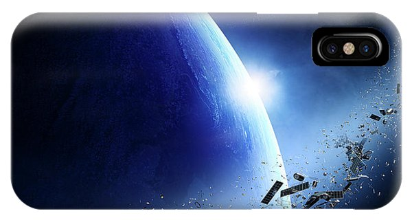 Panel iPhone Case - Space Junk Orbiting Earth by Johan Swanepoel