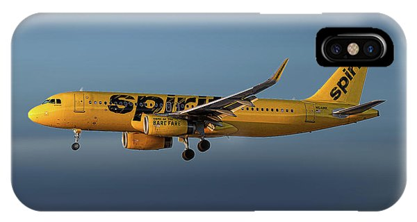 Spirit iPhone Case - Spirit Airlines Airbus A320-232 by Smart Aviation