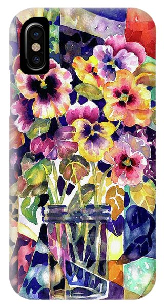 Stained Glass Pansies IPhone Case