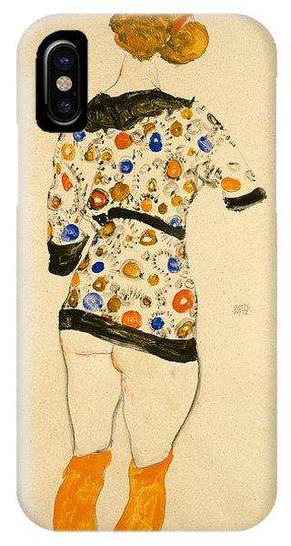 Lgbt iPhone Case - Standing Woman In A Patterned Blouse by Egon Schiele