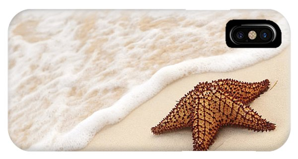 Shore iPhone Case - Starfish And Ocean Wave by Elena Elisseeva