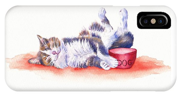 Cat iPhone X / XS Case - Stolen Lunch by Debra Hall