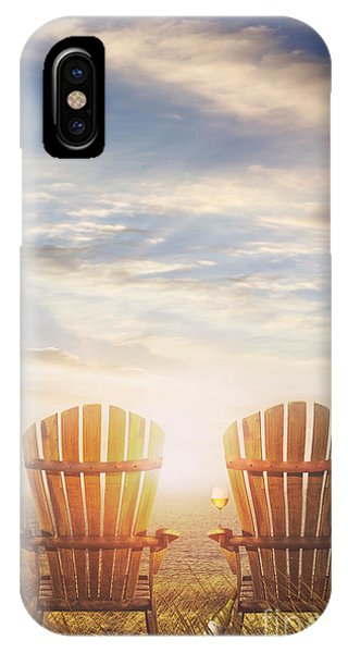 Summer Chairs Sand Dunes And Ocean In Background IPhone Case