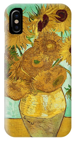 Background iPhone Case - Sunflowers By Van Gogh by Vincent Van Gogh