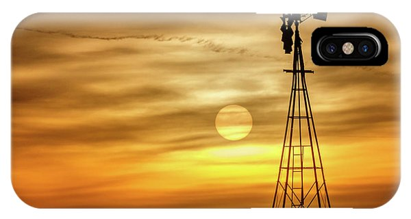 IPhone Case featuring the photograph Sunset And Windmill by Rob Graham