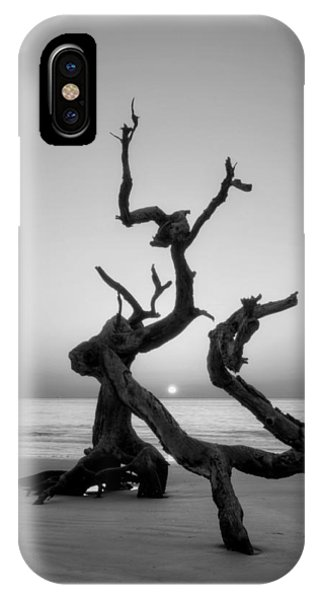 Sunrise On Driftwood In Black And White IPhone Case