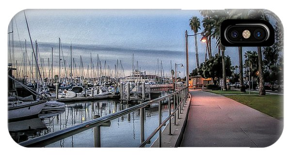 Moor iPhone Case - Sunrise Over Santa Barbara Marina by Tom Mc Nemar