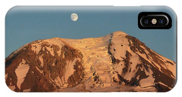 Sunset And Moonrise At Mt Adams IPhone Case