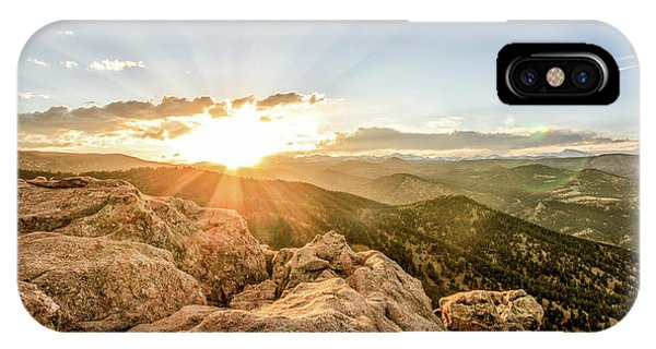 Sunset Over The Mountains Of Flaggstaff Road In Boulder, Colorad IPhone Case