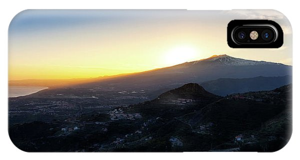 Mt Etna iPhone Case - Sunset Over The Volcano Mount Etna And The Gulf Of Catania Viewe by Alfio Finocchiaro