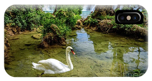 Swan In The Waterfalls Of Skradinski Buk At Krka National Park In Croatia IPhone Case
