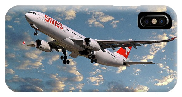 Jet iPhone Case - Swiss Airbus A330-343 by Smart Aviation