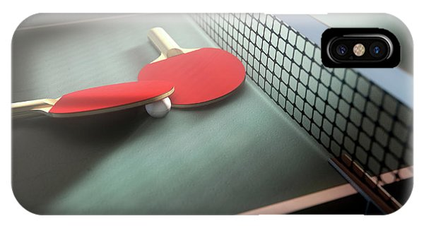 Racquet iPhone Case - Table Tennis Table And Paddles by Allan Swart
