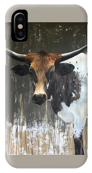 Cow iPhone X / XS Case - Texas Longhorn by Cheryl Green